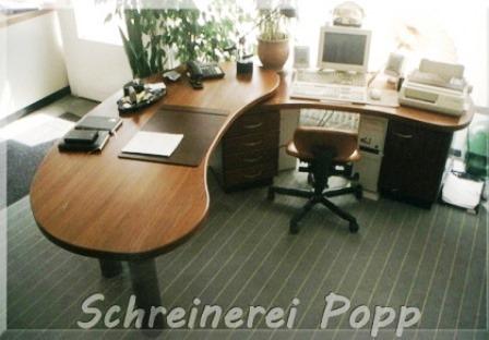 Zweiteiliger Schreibtisch aus Kambala massiv