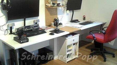 Schreibtisch weiß/ Eiche furniert