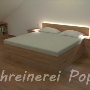 Bett Buche mit Beleuchtung und Nachtkästchen 2