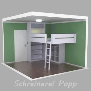 Zeichnung - Hochbett mit Regalen, Leiter und Beleuchtung - Seitenansicht