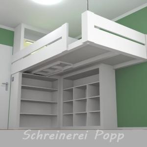 Zeichnung - Hochbett mit Regalen, Leiter und Beleuchtung